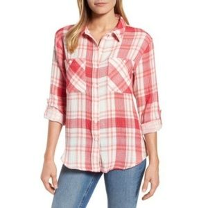 SANCTUARY Tomboy Red & White Plaid Shirt A7-13